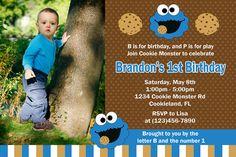 Cookie Monster invitación fiesta de cumpleaños por Honeyprint