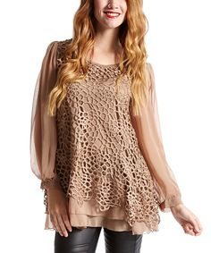 Pretty Angel Brown Floral Overlay Silk-Blend Tunic | zulily