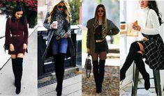 Women's During the Knee Boots , examine our large choice. Knee Socks Outfits, Casual Skirt Outfits, Over The Knee Boot Outfit, Black High Heels, Ladies Dress Design, Jeans And Boots, Lady, Shoes, Fashion