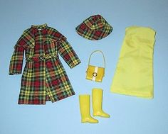 Mod Barbie Japanese Exclusive Green Plaid Raincoat Outfit, Spring showers