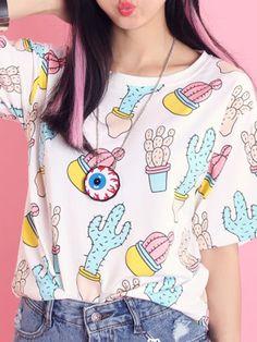 Pink Cute Cactaceae Print T-shirt