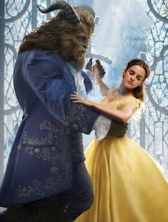 Emma Watson as Belle in Beauty and the beast (2017) Ballgown scene