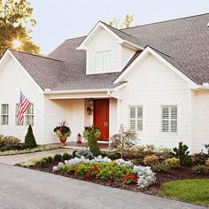 When deciding what to do with the exterior of your homes, don't be afraid of traditional white. More exterior color schemes:  http://www.bhg.com/home-improvement/exteriors/curb-appeal/best-exterior-house-color-schemes/?socsrc=bhgpin100413classichomepaint&page=14