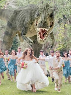 Hilarious Photo of a T-Rex Chasing a Wedding Party - My Modern Metropolis