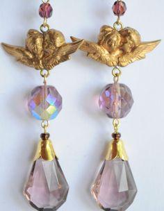 Vintage Raw Brass Earrings Art Nouveau Angel Purple Czech Glass Handmade   #Handmade #DropDangle