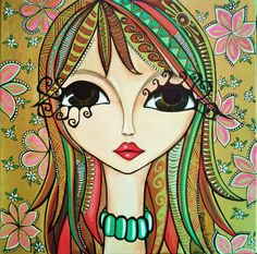 """""""I know a 'face' where the wild thyme blows, Where oxlips and the nodding violet grows, Quite over-canopied with luscious woodbine, With sweet musk-roses and with eglantine."""" William Shakespeare, A Midsummer Night's Dream Art And Illustration, Arte Pop, Whimsical Art, Medium Art, Face Art, Doodle Art, Art Girl, Painting & Drawing, Modern Art"""