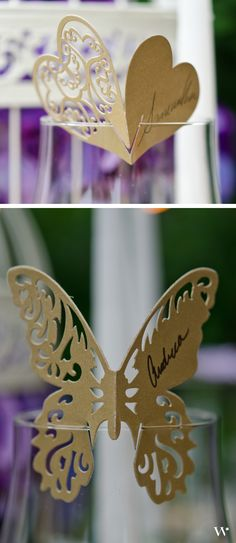 Perching on a glass or laying on the table, these Laser Expressions Butterflies are a simple yet gorgeous way to lead your guests to their places: http://www.weddingstar.com/product/laser-expressions-butterfly-die-cut-card--standard-paper