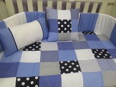 Blue and grey baby bedding. Made in 100% cotton with percale sheeting.  www.facebook.com/borderboutique.co.za