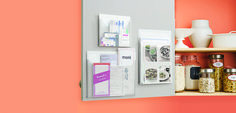 Organize your pantry with transparent pockets that make it easy to access menus and recipes.