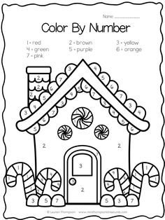 Gingerbread house color by number FREE Christmas Worksheets, Christmas Math, Preschool Christmas, Christmas Crafts For Kids, Preschool Activities, Holiday Crafts, Gingerbread Man Activities, Christmas Activities, Thanksgiving Activities