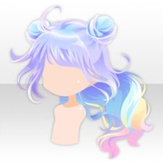 (Hairstyle) Rainbow Rabbit Buns on Wavy Hair ver.jpg, Click the image now for more info. Pelo Anime, Chibi Hair, Manga Hair, Dibujos Cute, Poses References, Estilo Anime, Hair Reference, Drawing Base, Drawing Clothes