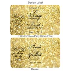 Gold Glitter Personalized Mini Liquor Bottle Labels - 10 pcs - Personalized Mini Liquor Labels - Hang Tags and Stickers - Favor Packaging - Wedding Favors & Party Supplies - Favors and Flowers