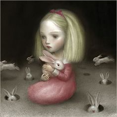 Alice by Nicoletta Ceccoli Illustrations, Illustration Art, Chesire Cat, Mark Ryden, Bunny Art, Pop Surrealism, Pics Art, Whimsical Art, Surreal Art