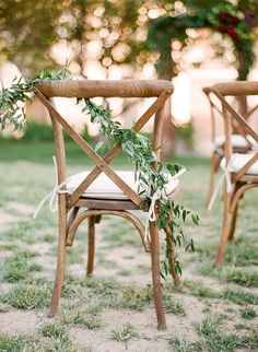 Organic Italian Castle Inspired Marsala Wedding Ideas | Connie Whitlock Photography | french style cross back chair with greenery