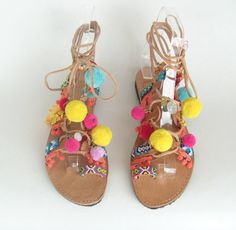 etsy $81 Pompom Sandals/Boho sandals/READY TO SHIP by EATHINI on Etsy