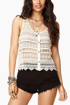 Ivory Lace Crochet Button Up Sleeveless Tank Top