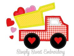 Dump Truck Hearts 2 Machine Embroidery Applique Design by SimplySweetEmbroider on Etsy