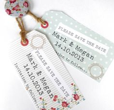 Cute Save the Date tags. I like the graphics and font but wrong colours.