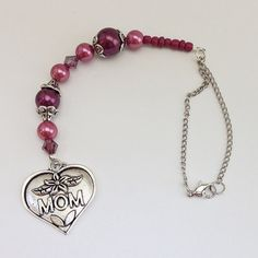 Mauve Plum MOM Heart Shape Beaded Car Charm, Auto Hanging Rear View Mirror Window Ornament Accessory