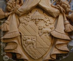 Family coat of arms carved in wood | Work in progress ,'The Italian job' ;) High relief carving in limewood. Detail of a family coat of arms (Italy) http://www.patrickdamiaens.be