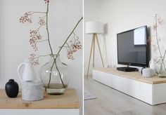 hold the color; i like the addition of a wood top on the Ikea media center