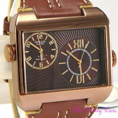 OMAX Waterproof 5ATM SS Seiko Movt Mens Unsiex Dual Twin Time Brown Watch DUL005