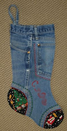 Make a Christmas stocking out of any old pair of jeans. You can decorate it any way you like! Great gift idea!