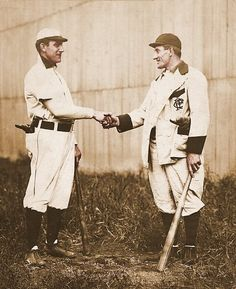 Nap Lajoie (left) with Honus Wagner