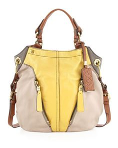 Love my Christmas gift  Victoria Colorblock Shoulder Bag, Beige/Yellow by Oryany at Neiman Marcus.
