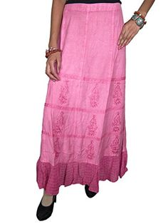 Women Long Maxi Skirt Pink Designer Embroidered Rayon Skirts Mogul Interior http://www.amazon.com/dp/B00PZUO0YW/ref=cm_sw_r_pi_dp_8qgCub033HC1K
