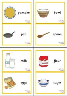 Here's a set of 12 flash cards for Pancake Day, featuring not only a pancake but all the ingredients that would go into one, the utensils you would need to make a pancake, and various topping ideas. They print 2 flashcards to a page. Pancake Day Crafts, Shrove Tuesday Activities, Times Tables Flash Cards, Religion Activities, Vocabulary Flash Cards, Family Day Care, How To Make Pancakes, Preschool Learning, Cooking With Kids
