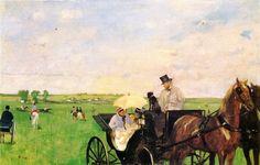 Aux courses en province (E. Degas, 1872)