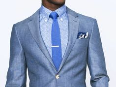 Chambray Blue Wool-Linen Twill Suit 1