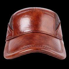fa45bcb4a86 Men s Baseball Cap Leather Hat Male Female Fashion 100% Genuine Leather Cap