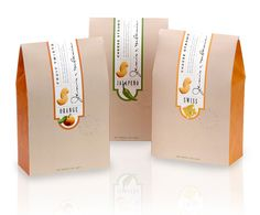 The concept of this packaging is to capture the sense of quality of the product and tradition of their company by using craft-colored paper, a vertical label with easy flavor-coding and their signatures.