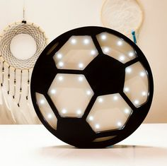 Soccer nightlight desk lamp made from Baltic birch by HappyMoonLV