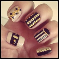 Nude and Black Studded Nails