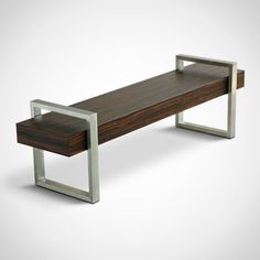 modern meets rustic with this wooden bench from gus* modern. a thick wooden beam sits between two stainless steel return legs. this hot little number works as a mod entryway bench or coffee table