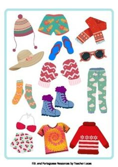Clothes Activities - Cut and Past - Summer / Winter, Count and Relate to colors English Activities For Kids, English Worksheets For Kids, English Language Learning, Teacher Favorite Things, Summer Winter, Learning Resources, Counting, Past, Students