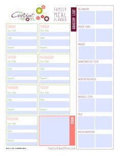 Family Meal Planner Printable - Grab it as a part of The Confident Mom Weekly Household Planner Supplement Kit!