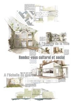 Architectural Layout Presentation - Welcome my homepage Croquis Architecture, Architecture Plan, Landscape Architecture, Presentation Board Design, Architecture Presentation Board, Poster Layout, Urban Design, Design Process, Layout Design