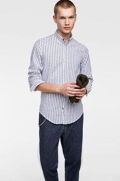 b232a02fd6 Image 2 of STRIPED TABBED SLEEVE SHIRT from Zara Shirt Sleeves