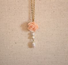 Rose Cabachon Peach and Glass Pearl Pendant by ThatGirlsDesigns, $8.00