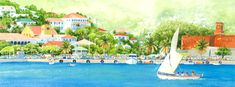 By the Lee by Anne Miller, x watercolour print Watercolor Print, Watercolours, Caribbean, Boats, Sea, Gallery, Painting, Ships, Roof Rack