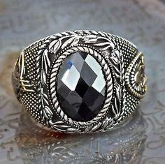 925 Sterling Silver Mens ring Ottoman Design Black Onyx unique artisan jewelry