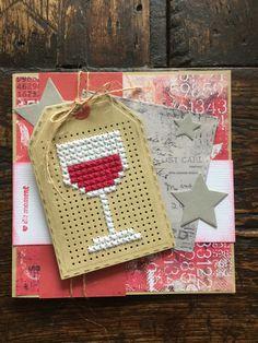 Cross stitch wine card Stitching On Paper, Cross Stitching, Cross Stitch Embroidery, Small Cross Stitch, Cross Stitch Designs, Cross Stitch Patterns, Cross Stitch Boards, Cross Stitch Bookmarks, Embroidery Cards