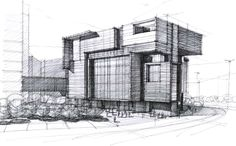 Rough detailed sketch showing structure of building/area and great use of hatching.