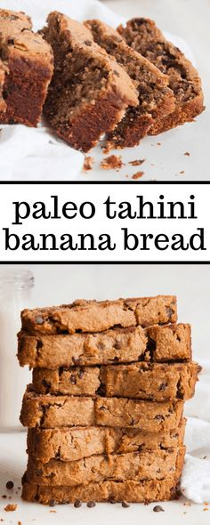 This moist gluten free paleo tahini banana bread is made with almond flour, tahini, maple syrup, and only a few other simple ingredients. It is the best healthy banana bread and is so easy to make! #paleo #glutenfree #bananabread #tahini Banana Bread Almond Flour, Gluten Free Banana Bread, Healthy Banana Bread, Best Banana Bread, Paleo Bread, Paleo Dessert, Healthy Desserts, Delicious Desserts, Healthy Treats