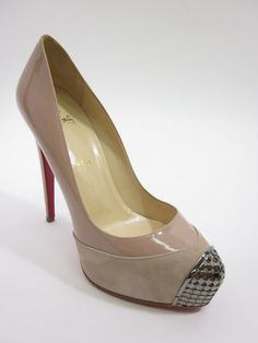 NEW CHRISTIAN LOUBOUTIN Beige Patent Leather Suede The Maggie Pumps Sz 40 10 at www.ShopLindasStuff.com
