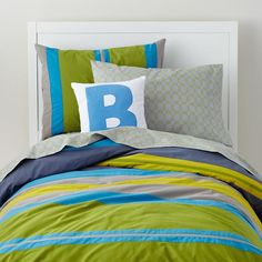 The Land of Nod | Boys Bedding: Bright Colored Striped Bedding Set in Duvet Covers